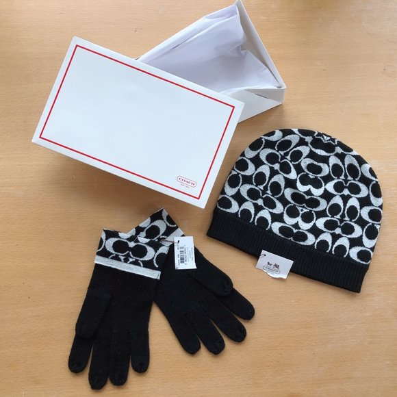 Coach hat and gloves set- New with tags and box